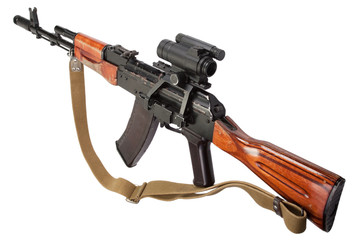 kalashnikov rifle with optic sight on white