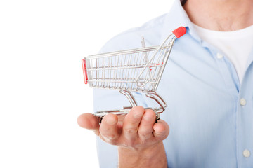 Man with a small shopping basket.