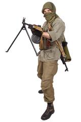 mercenary with machine gun
