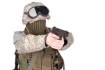 US soldier with hand gun on white background