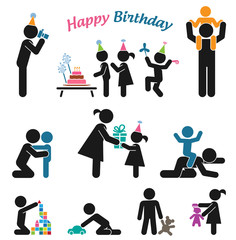Happy birthday. Pictogram icon set. Children birthday party.