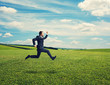 businessman in suit running fast at outdoor