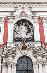 The sculpture on the facade of the church