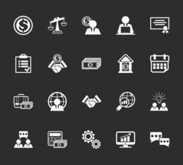 Vector business and finance management Icons set