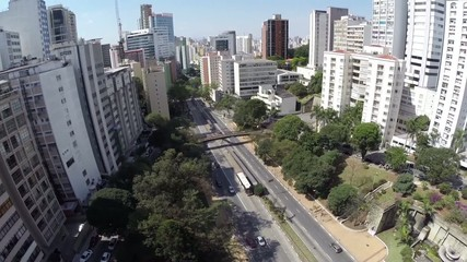 Aerial view from an Important Avenue in Sao Paulo, Brazil