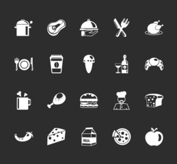 Vector food and elements restaurant icons set