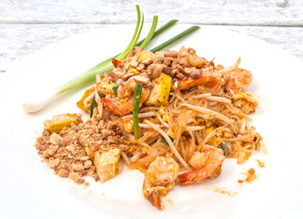 pad thai or Thai noodle with prawn