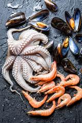Three kinds of fresh seafood