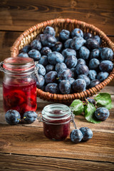 Fresh preserves from plum in the pantry