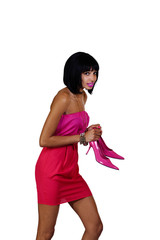 Black Woman Dress Holding High Heels Worried