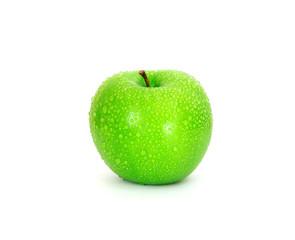 Single green fresh wet apple on white background