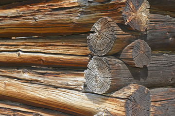 Close-up detail of Log Cabin in Old Mining Town, Western USA