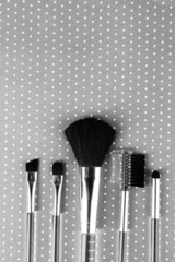 Brushes for makeup on grey background
