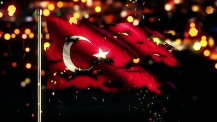 Turkey Flag Torn Burned War Freedom Loop Animation