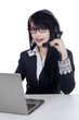 Beautiful businesswoman in help desk 1