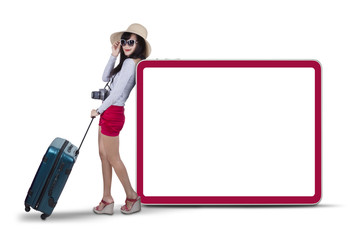 Attractive woman standing next to copyspace 2