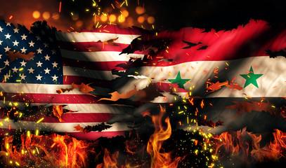 USA Syria National Flag War Torn Fire International Conflict 3D