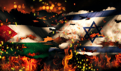 Palestine Israel Flag War Torn Fire International Conflict 3D