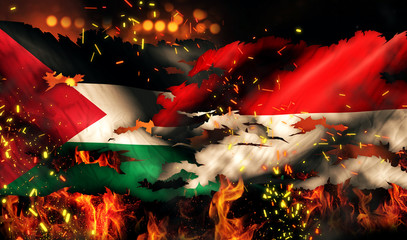 Palestine Indonesia Flag War Torn Fire International Conflict 3D