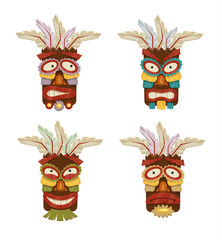 Stock vector tribal ethnic masks and totems icon set