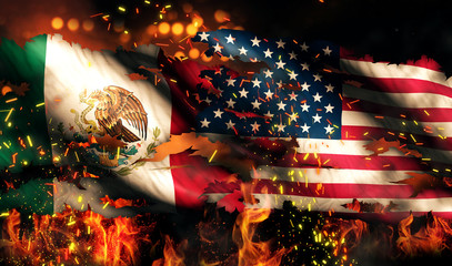 Mexico USA Flag War Torn Fire International Conflict 3D