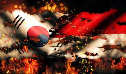 South Korea Indonesia Flag Fire International Conflict 3D