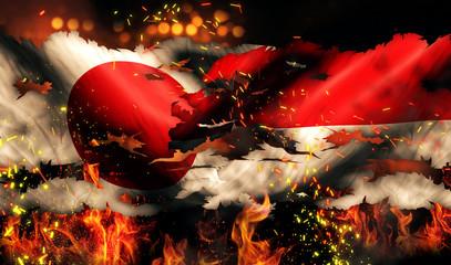 Japan Indonesia Flag War Torn Fire International Conflict 3D