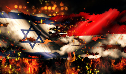 Israel Indonesia Flag War Torn Fire International Conflict 3D