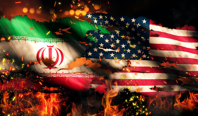 Iran USA Flag War Torn Fire International Conflict 3D