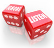 Listen Vs Ignore 2 Red Dice Words Paying Attention