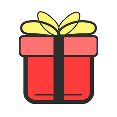 Stock vector color gift flat icon