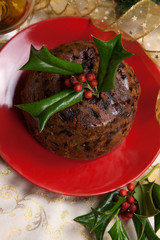 Christmas Pudding with Holly Twigs