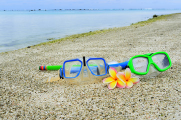 Mask and snorkels on tropical Island vacation