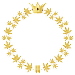 Golden wreath with leaves and crown