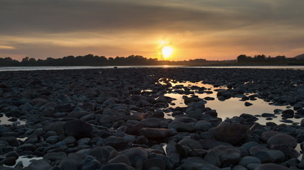 Sunset on the Tom River in Western Siberia - timelapse