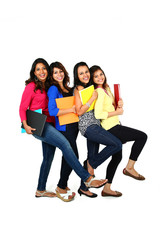 Group of female students, isolated on white background