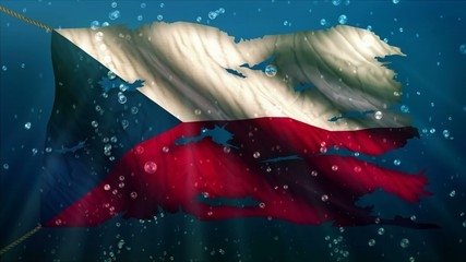 Czech Republic Under Water Sea Torn Flag Loop Animation