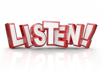 Listen Word 3d Red Letters Pay Attention Important Information