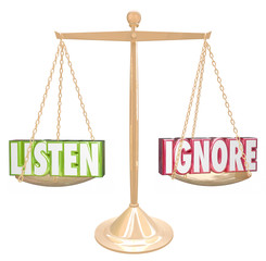 Listen Vs Ignore 3d Words Gold Scale Balance