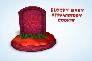 Blood Mary's Strawberry Tombstone Cookie
