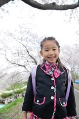 桜の下の女の子