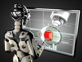 robot woman manipulating hologram displey