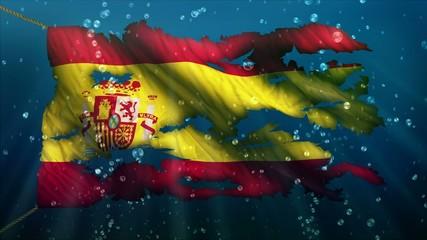 Spain Under Water Sea Torn Flag Loop Animation