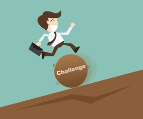 Business man jumping over challenge