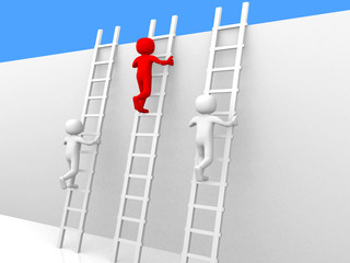 3d person climbing ladders