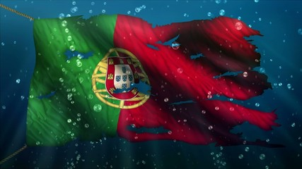 Portugal Under Water Sea Torn Flag Loop Animation