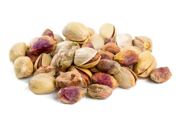 heap of pistachio isolated on white