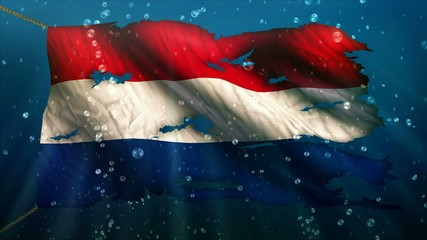 Netherlands Under Water Sea Torn Flag Loop Animation