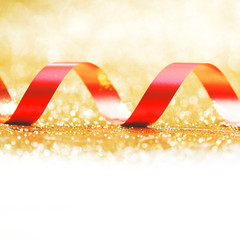 Curly red gift ribbon