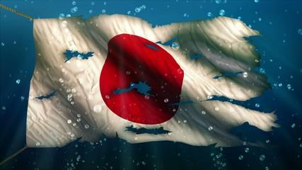Japan Under Water Sea Torn Flag Loop Animation